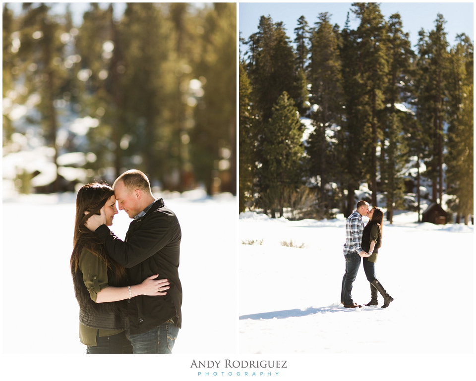 Big Bear Engagement Photo - Bride and Groom Kissing
