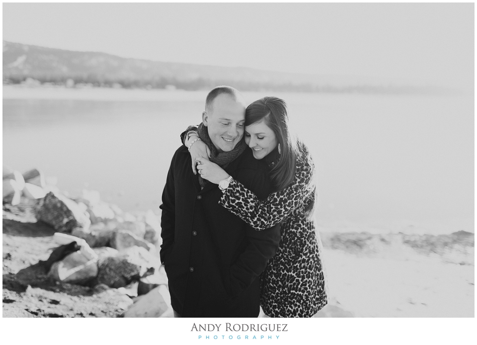 Big Bear Engagement - Black and White