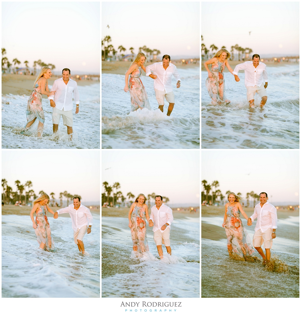 Couple running in the water in Newport Beach