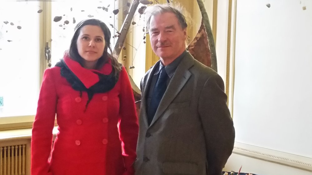 IFOR Fellow Martina Lanza (Left) and IFOR's main representative to the UN in Geneva, Derek Brett (right) inside of the Palais Wilson between meetings of the Human Rights Committee.