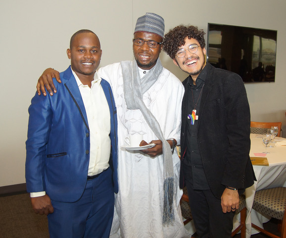 Brian Byamukama, Abubakar Sadiq Yussif and Murilo Araújo at the Ethics of Reciprocity Luncheon in the Delegates Dining room United Nations Headquarters.