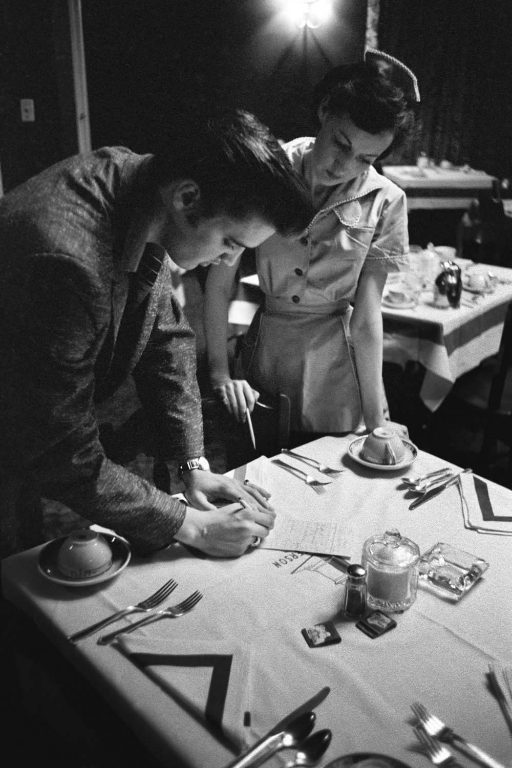 Even his favorite waitress wanted his autograph for her mother.