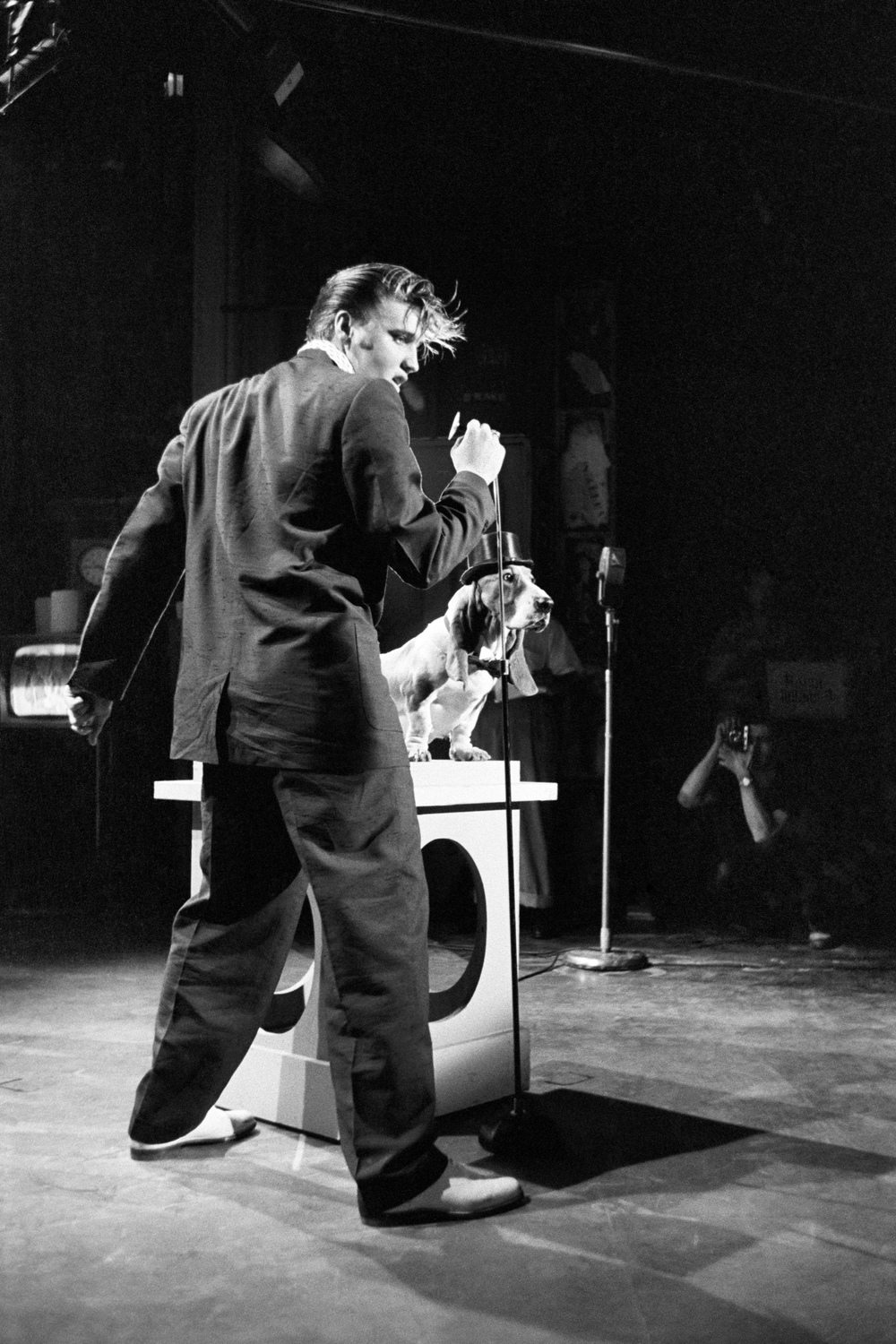 """It's showbiz time"": Elvis tries out ""Hound Dog"" in two rehearsals on <i>The Steve Allen Show</i>in New York City."