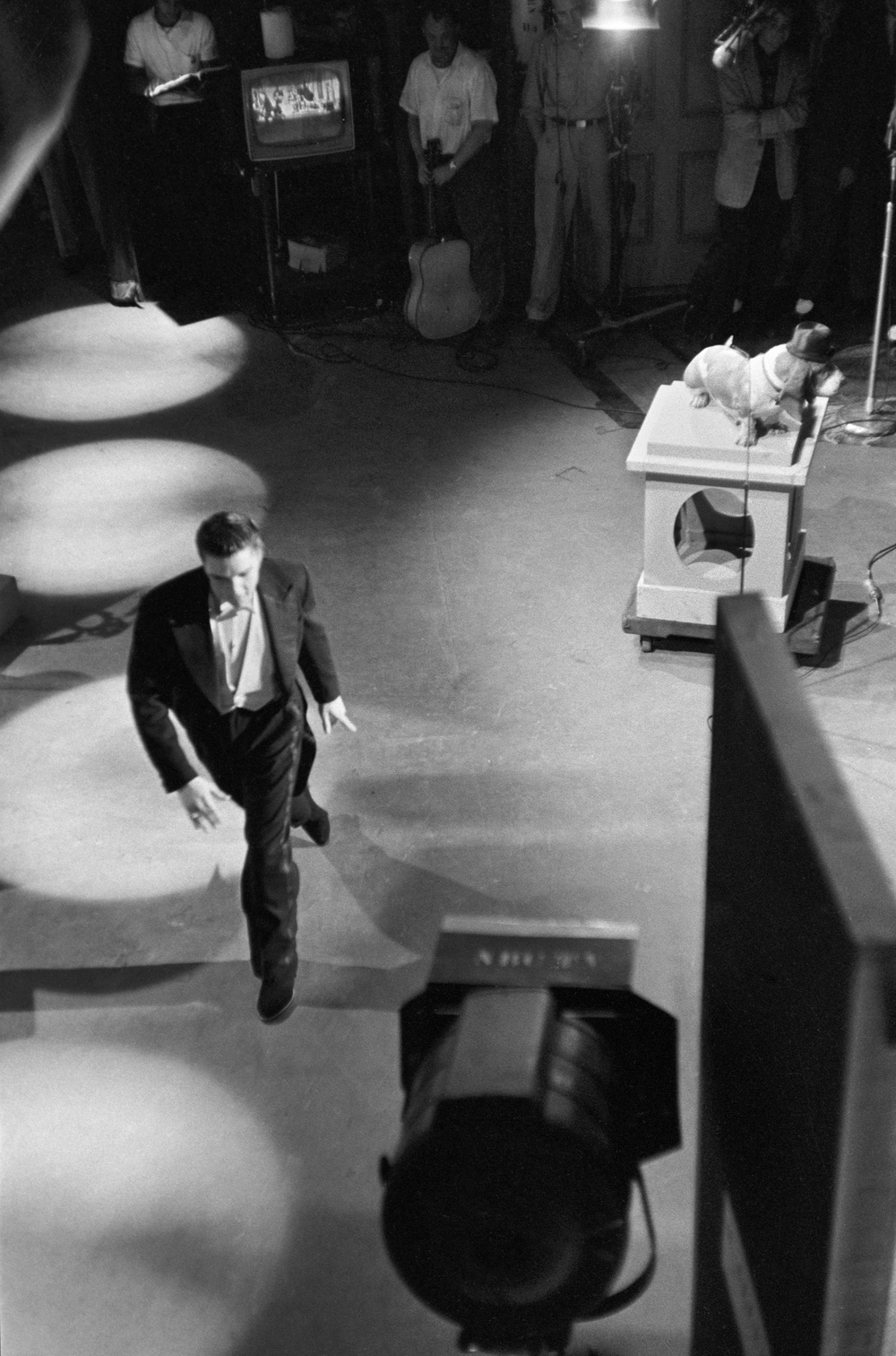 "Elvis leaves the stage after performing ""Hound Dog"" on <i>The Steve Allen Show.</i>"