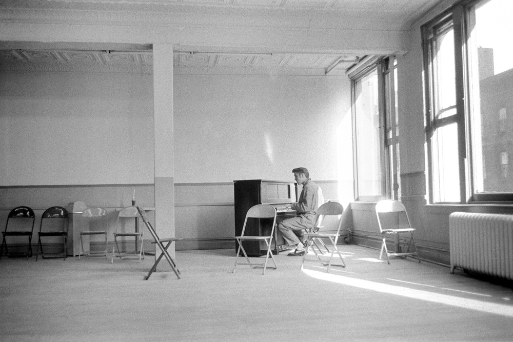 Elvis in a rehearsal studio preparing for <i>The Steve Allen Show.</i>
