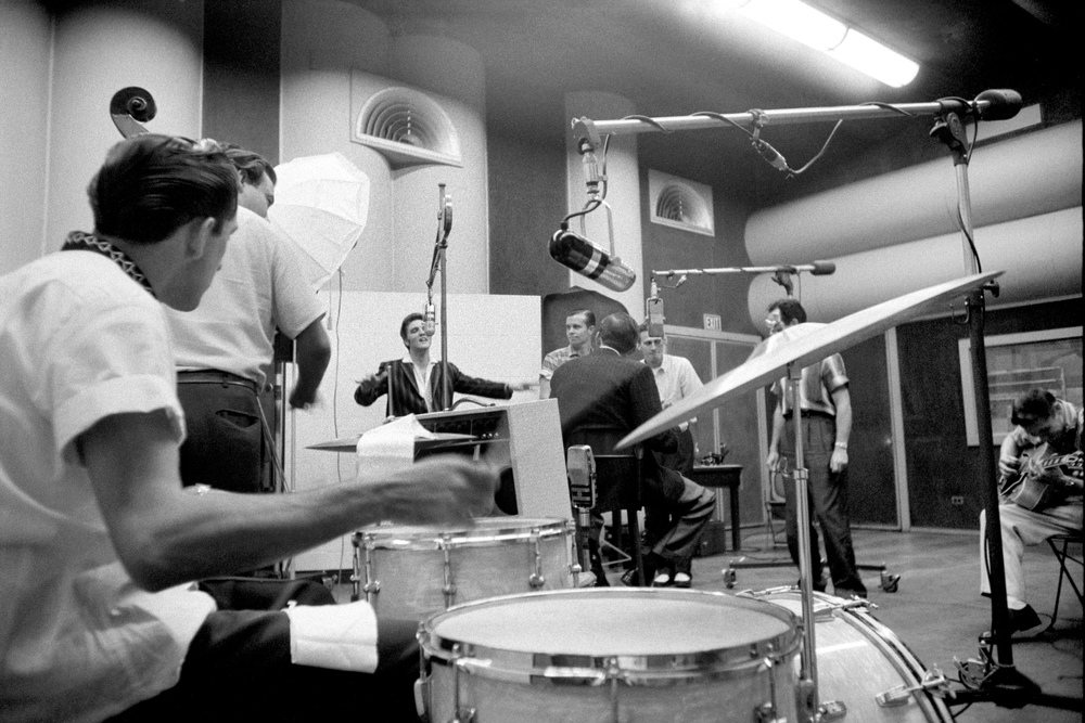 Recording with the Jordanaires at the RCA Victor studios in New York City.