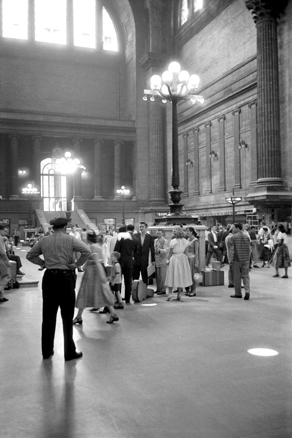Concourse, Penn Station, New York City, July 3, 1956, before catching the train to Memphis.