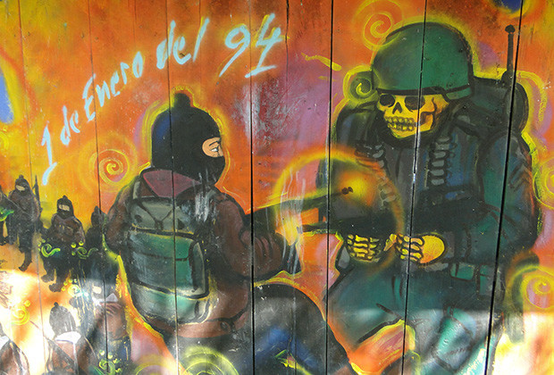 A mural near La Realidad depicting the Zapatista uprising on Jan. 1, 1994.