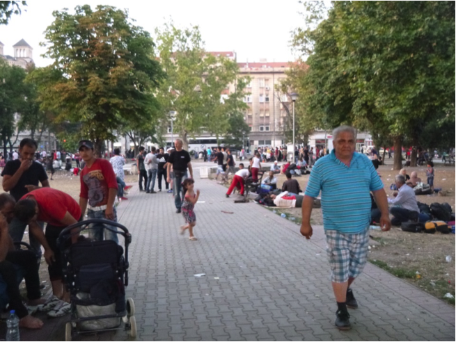 The park between the bus and train stations in Belgrade is now a makeshift refugee camp.