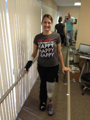 Front view (of the office/practice prosthesis); btw t-shirt is Duck Dynasty gem courtesy of the Hallmark Walmart team :)