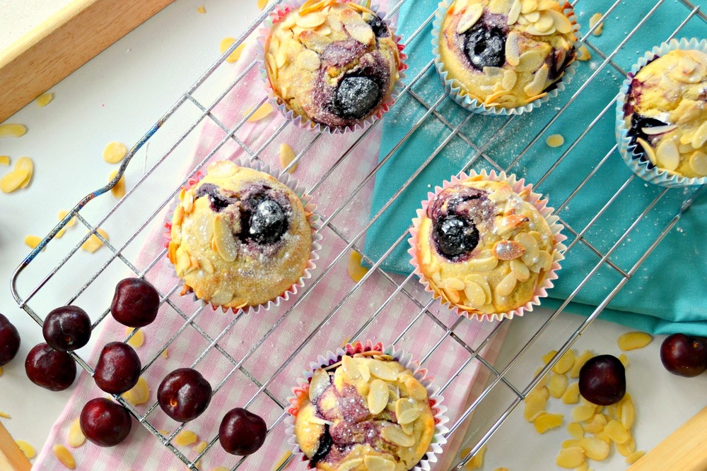 Easy Cherry and Almond Muffins