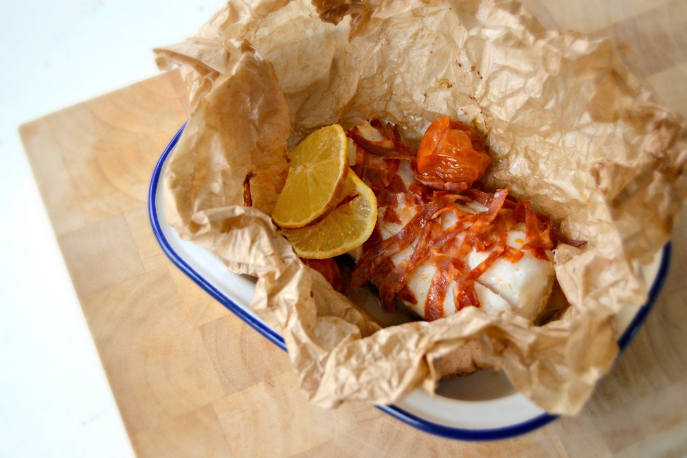 cod and chorizo parcels