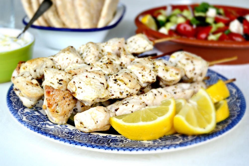 Greek style turkey kebabs