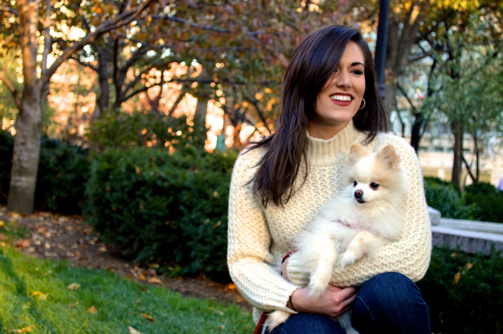 Co-Founder, Kate and her dog, Bear. Founder of NYC Dog Walking company, MixyPaws