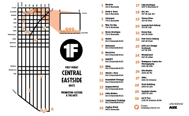 The new map for the Central Eastside section of SE First Friday!
