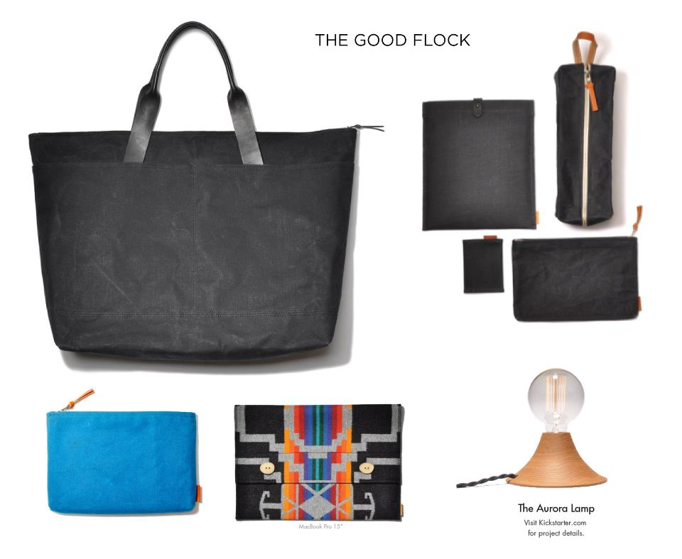 The Good Flock products are not just good, they're great. And they're not just great for your style, they're great for the earth. Well-made and ridiculously sharp bags, laptop cases, wallets, totes, and now lighting, all hand-crafted with a conscience. For the sartorialist on your list, give the gift of The Good Flock this year from Give Good Gift this Friday & Saturday!