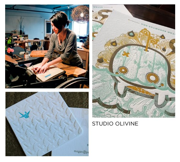 Next up in our Give Good Gift spotlight series is Studio Olivine, where you will find adorable stationery, cards, and letterpressed treats of various forms for your delight. Masters of the artform, Julie Everhart and team craft business cards, coasters, RSVP cards, and everything in between for clients across town- including UNION/PINE! Give the Good Gift of artwork from GGG Dec 7 & 8.