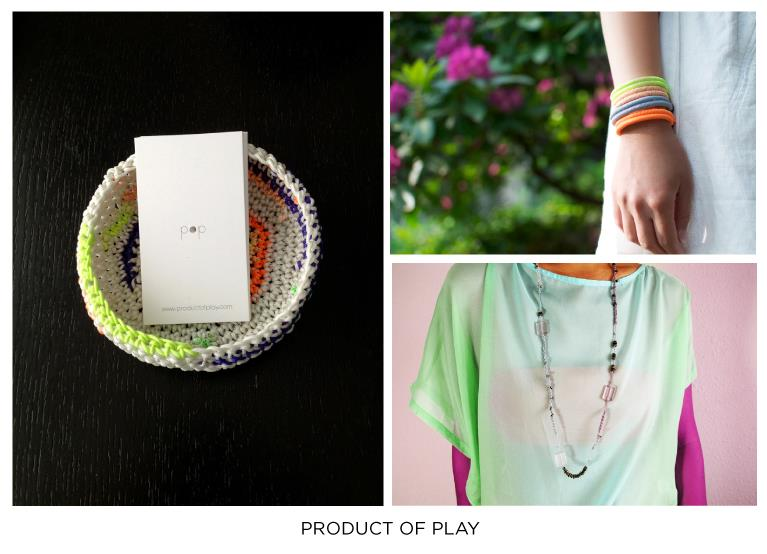 Product of Play designer Fanny Ho weaves bright nylon into playful bracelets, necklaces and 'hot pot' bowls. These colorful pops of neon power stand alone as great statements, or pair perfectly with more delicate pieces! Bring a big smile come present time, with a super fun one of a kind treat from Product of Play that you'll find at Give Good Gift Dec 7 & 8!