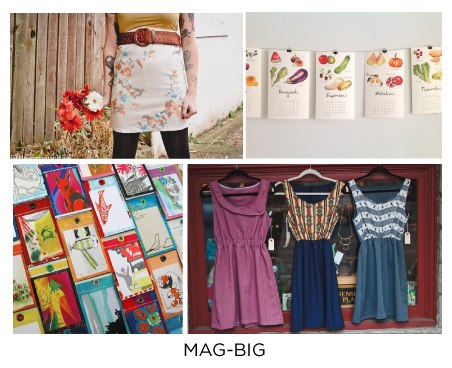 No woman can have too many simple, well-designed dresses in her closet, and designer Cassie Ridgeway celebrates that in her shop, Mag-Big. Staple wardrobe pieces made by Ridgeway and other local seamstresses are offered alongside a host of other handmade treats to ensure a thoughtful handmade gift. Come find something lovely and local at Give Good Gift, Dec 7 & 8!