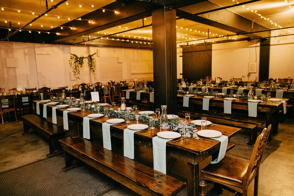 Portland Warehouse Wedding  Union/Pine  floral by  Fiore Floral Design  photos by  Dylan & Sara