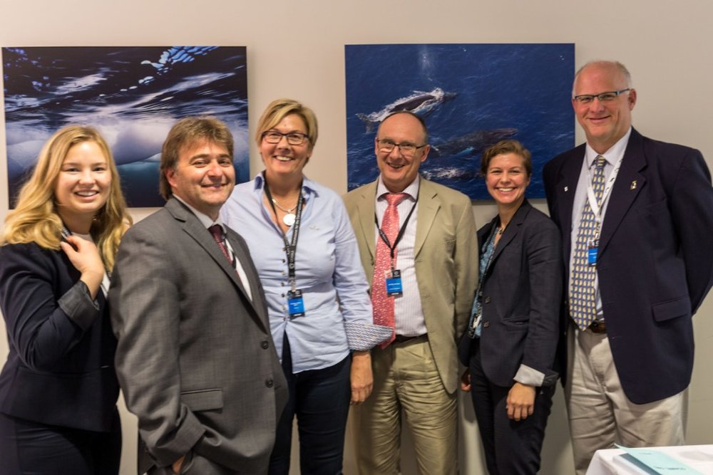 Photo: Cilia Holmes Indahl (AWR Secretary), Dr Christian Reiss (USA), Dr Bettina Meyer (Germany), Dr. Phil Trathan (Chair of SAG), Claire Christian (Chair of the AWR Board) and Dr. Rodolfo Werner (AWR Scientific Advisor and Board member)