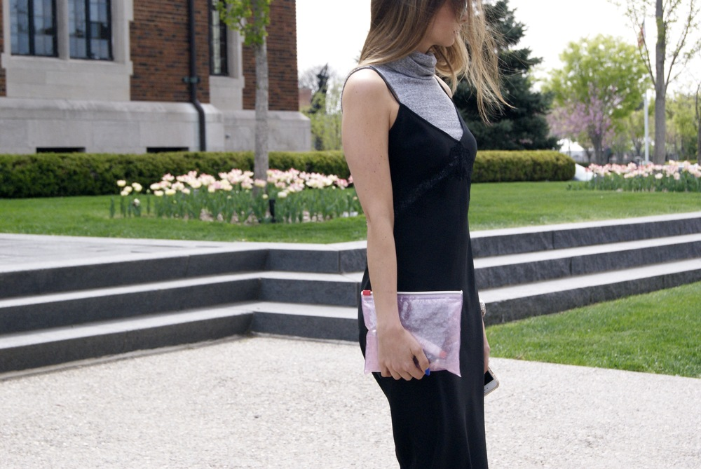 Slip Dress: Uniqlo (similar here) // Sleeveless turtleneck: Asos (similar here) // Pink Pouch: Glossier packaging FTW.
