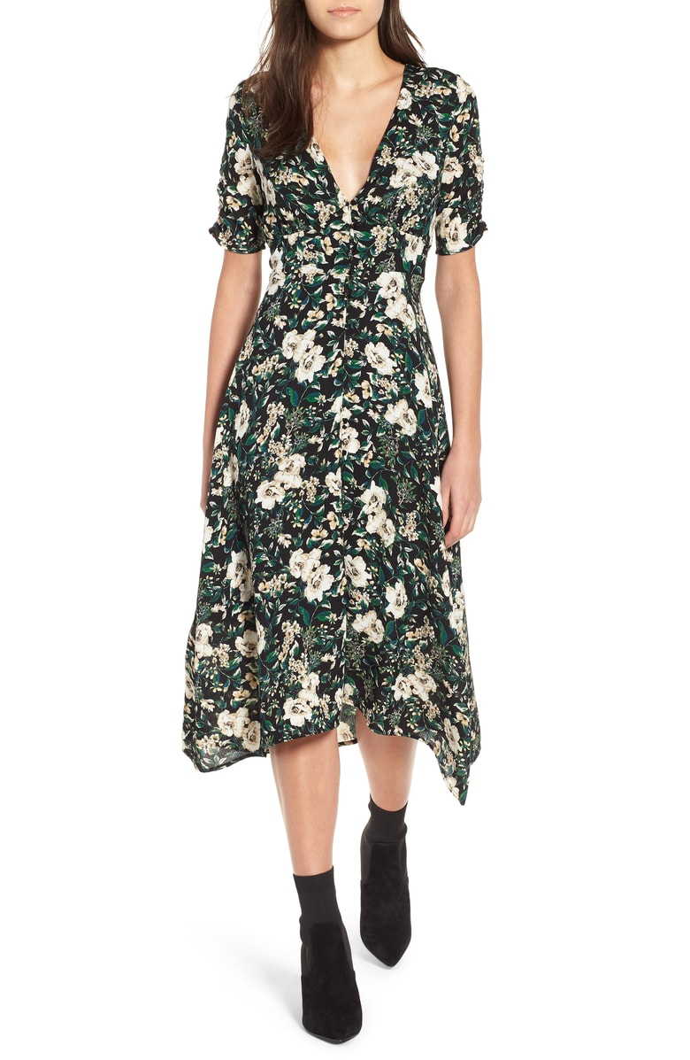 ASTR The Label Button Front Midi Dress: $52.90 (After sale: $79)  - This was the first item that caught my attention. The price was right, print is a perfect Fall-floral, and I love the vintage silhouette of it. It is a tad low cut, but I think the length and sleeve detail make it more Lady than Tramp (but if Tramp is your thing, I'm here for that too- women doing what they want 2018!!). The buttons from bust to hem make it possible to even wear this dress as a top. I wore it over jeans, unbuttoned from the hem to my waist and voila! Now you have a blouse and a dress! You're welcome!Transition this from summer to fall with sneakers or boots instead of sandals, or layered with a turtleneck or tee underneath.