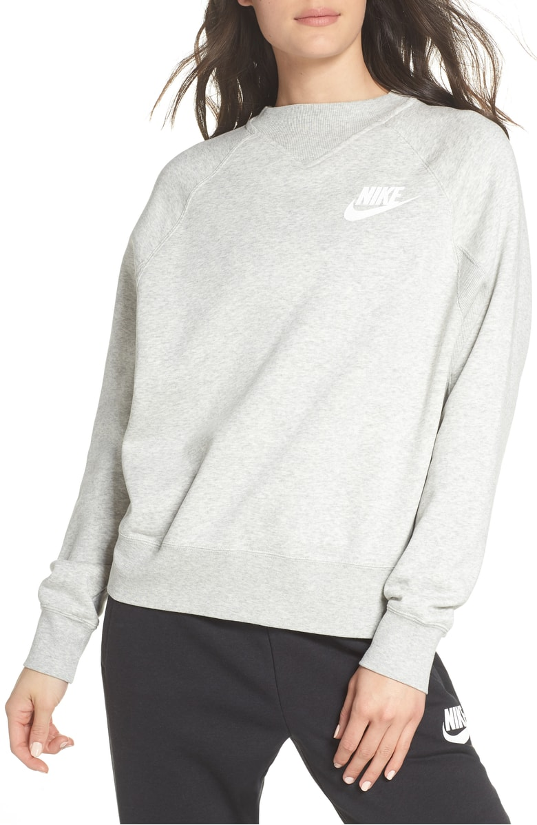 NIKE Sportswear Rally Sweatshirt: $51.90 (After sale: $70) - The extent of my sweatshirt wearing now is slipping one on when Mike's not home and I turn the AC down to 65. But this limited-time activity did not prevent me from adding this perfect pull-over to my collection.The high-neckline allows this sweatshirt be a more refined, and less sloppy. If I didn't live in the pits of hell, temperature-wise, I would pair with a midi skirt and sneakers come Fall. Until then, I'll wear it in front of my freezer.