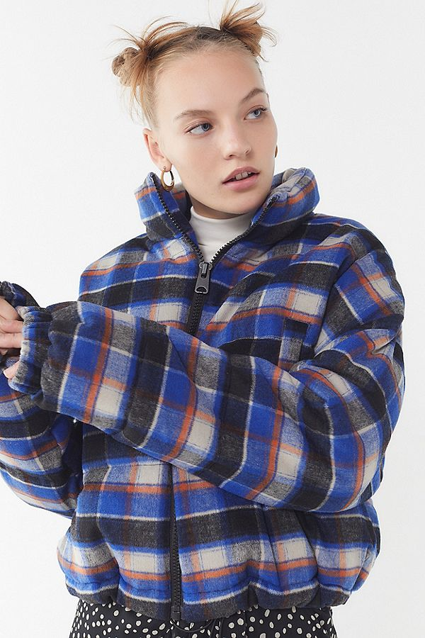 Urban Outfitters Plaid Puffer