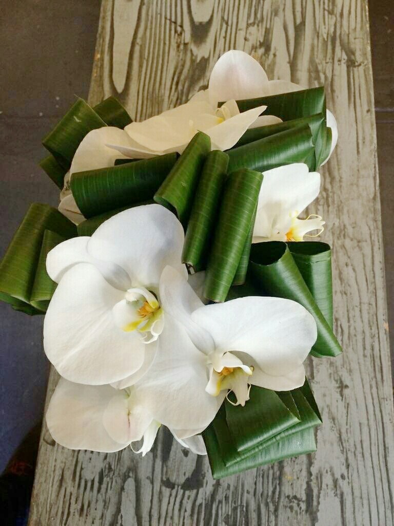 Details: Ti Leaves and White Phalaenopsis Orchids