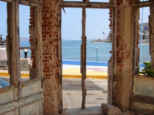 Broken windows used to be the view from where Lucila's Restaurant is located.