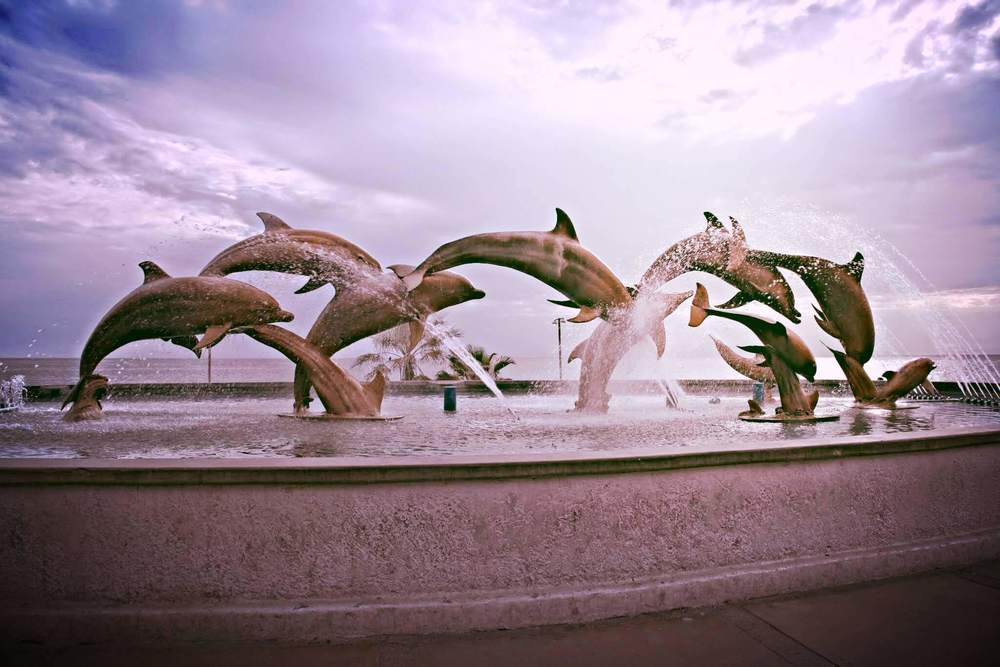 dolphins statue in mazatlan