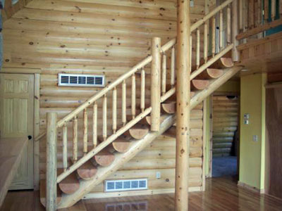 Log Stairs and Railings
