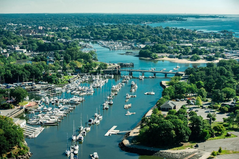 New Rochelle , Glen Island on right