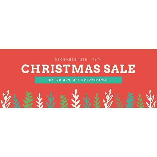 Our holiday sale is here! Enjoy 30% OFF you're entire purchase today through December 16th including clearance items and full priced items or new items! See you this week!