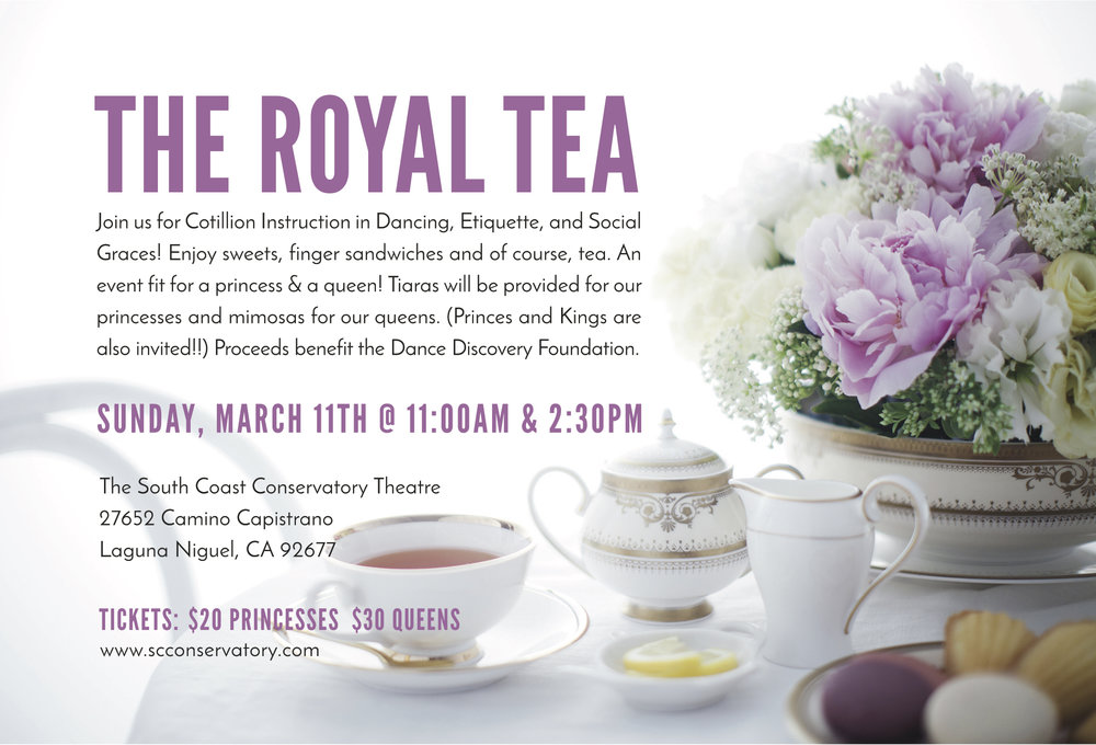 "Join DDF at ""The Royal Tea"", Sunday March 11, 2018. 11:00 A.M. & 2:30 P.M. For Cotillion Instruction, special performances, sweets, finger sandwiches and much more!!   Tickets: $20.00 general admission, $30 with Champagne"