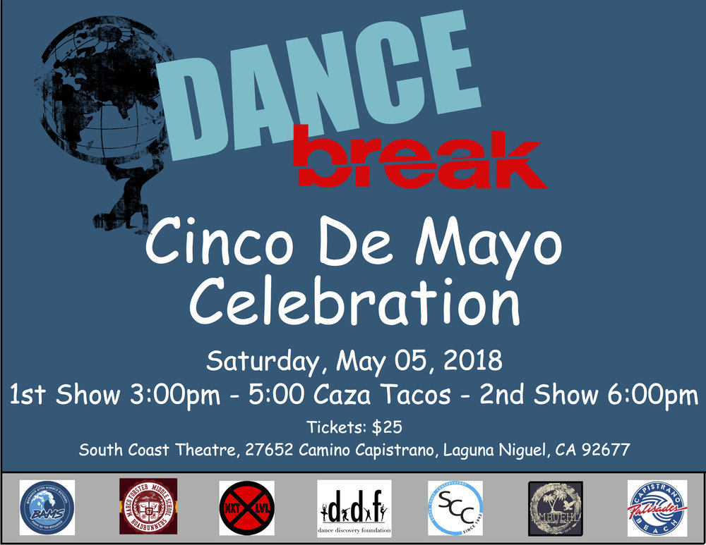 Dance Break - Come Celebrate the Dance Break Program at their Cinco De Mayo Celebration. Featuring performances by the Dance Break Teams from Marco Forester & Bernice Ayer Middle School, Palisades & Ambuehl Elementary School, and the NXT LVL Performance Company. Catered by Caza Tacos.