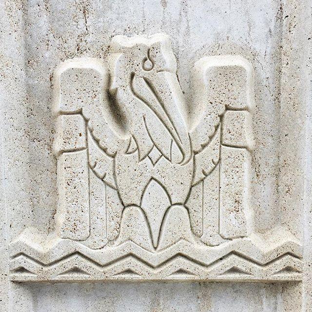 Pelican relief. #artdeco #sculpture #lousiana #pelican