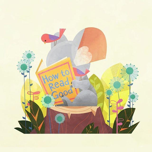 Read Real Good. #koala #reading #book #wip #friends #animals #babyanimals #dessin #animaux #birds #illustration #일러스트 #동물 #spot #plants #tree #flowers #art #artistsoninstagram #kidlitart #illustrationoftheday #illustrationartists #childrenswritersguild