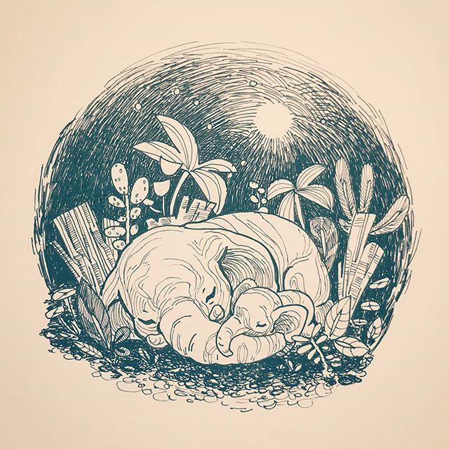 Inktober 5th #inktober #inktober2017 #elephants #코끼리 #동화 #night  #nature #animals #vignette #pen #ink #illustration #artistsoninstagram