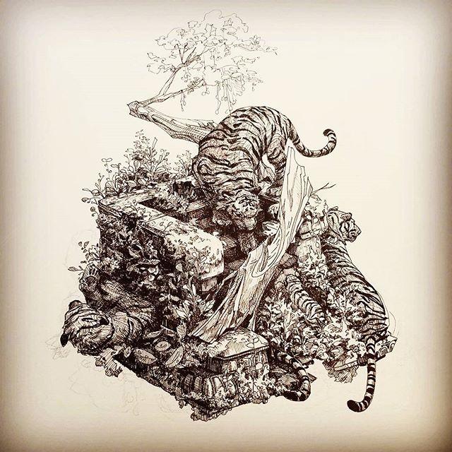 Tigers for Inktober 2nd #inktober #inktober2017 #tigers #cats #bigcats #animals #nature #architecture #cube #illustration #spot #vignette #drawing #art #pen #ink #artistsoninstagram