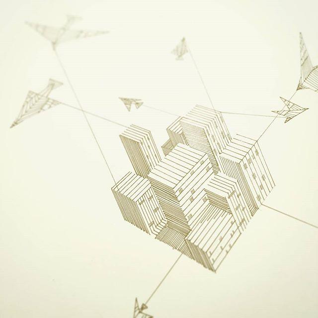 Tried something different for Inktober 4th. #inktober #inktober2017 #pen #ink #line #birds #city #architecture #flying #cube #minimal #illustration #artistsoninstagram