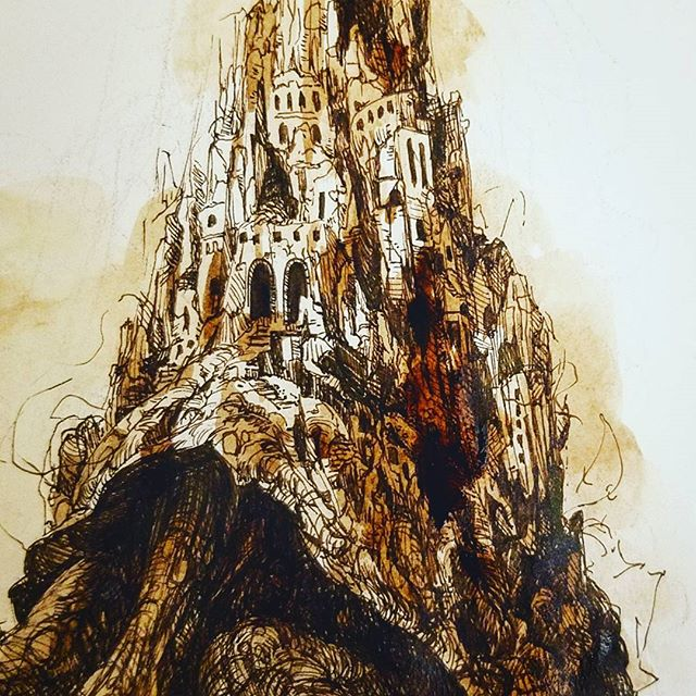 Inktober 7th~ guess. #inktober #inktober2017 #animals #ancient #city #mountain #nature #pen #ink #drawing #dessin #그림 #일러스트 #미술 #art #artistsoninstagram #tortoise