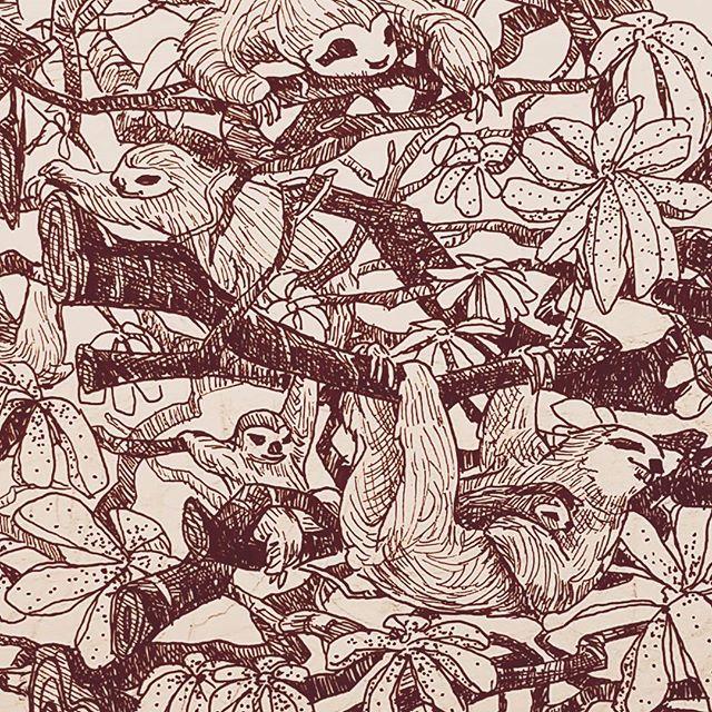And sloths on Inktober 3rd #inktober #inktober2017 #sloth #trees #nature #animals #pen #ink #illustration #artistsoninstagram