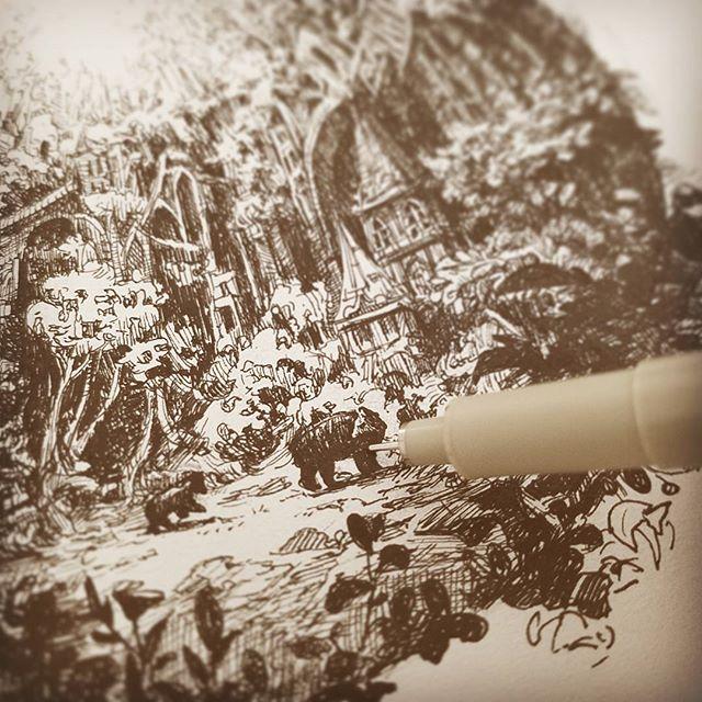 Ahhh!! Must catch up!!! Inktober 6th: Bears #inktober2017 #inktober #animals #animaux #dessin #cave #bears #곰 #동물 #그림 #bearcub #nature #trees #pen #펜 #ink #encre #micron #vignette #art #artistsoninstagram #sketch_dailies