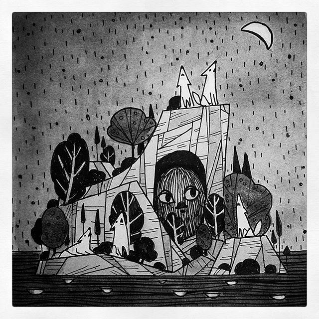 Inktober wolves wake up the beast #inktober #inktober 2017 #wolf #animals #rock #ocean #moon #nature #trees #cave #night #ink  #pen #beast #halloween #illustration #일러스트 #미술 #dessin #drawing #art #childrenswritersguild #artistsoninstagram