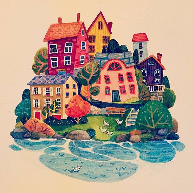 The cutest city I've ever been to *.* #trondheim #watercolor #architecture #house #cozy #window  #city #oldtown #europe #travel  #norway #shore #birds #illustration #color #vignette #art #painting #dessin #artistsoninstagram #childrenswritersguild #일러스트 #미술 #그림 #유럽 #시내 #집