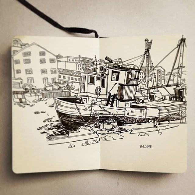 Since its been a while . . . #boat #port #fishing #ink #sketch #drawing #그림 #dessin #house #illustration #art #artistsoninstagram