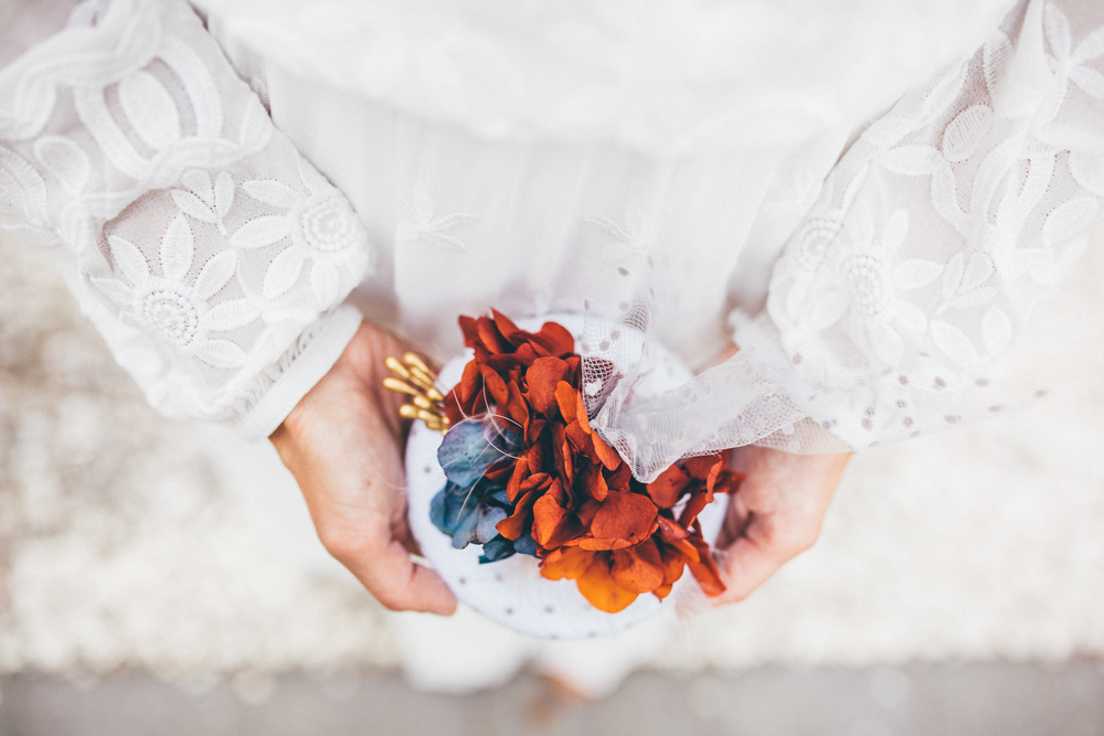 tocado otoñal novia