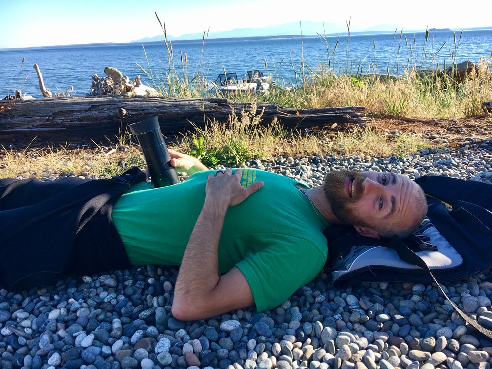 End of a grueling paddle across Admiralty Inlet to Whidbey Island.